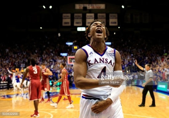 during the game at Allen Fieldhouse on January 4, 2016 in Lawrence, Kansas.