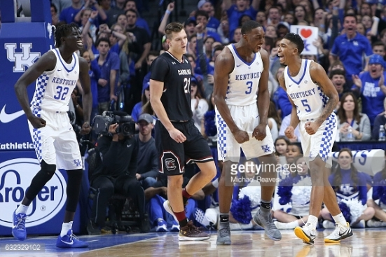 during the first half at Rupp Arena on January 21, 2017 in Lexington, Kentucky.