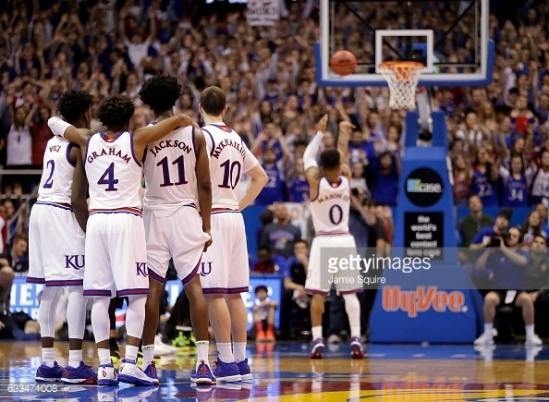 during the game at Allen Fieldhouse on February 1, 2017 in Lawrence, Kansas.